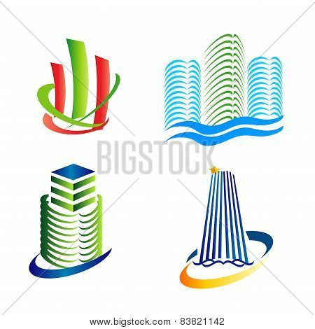 Real estate icons logo set tower symbol