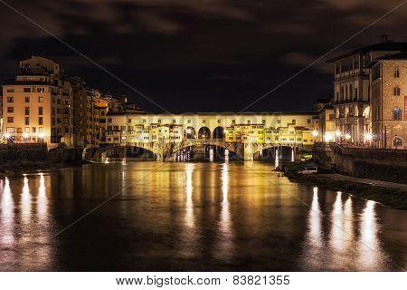 Night Reflection Of Ponte Vecchio