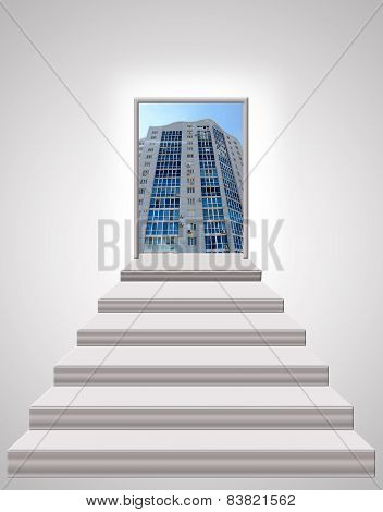 stairs leading up to skyscraper