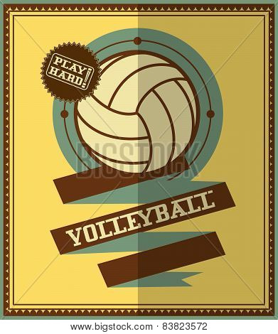 Flat design. Volleyball retro poster