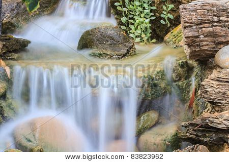 Small waterfall in a garden