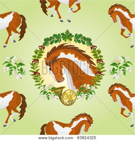 Seamless  Texture Piebald Horse Head Of Stallion Vector