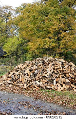 Many Chipped Fire Wood