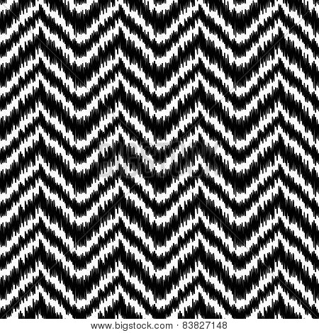Black and white simple ikat middle east traditional silk fabric chevron zig zag seamless pattern, ve