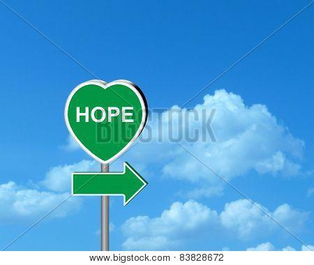 Hopes - heart signpost
