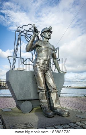 Bronze Statue Of A Coal Miner