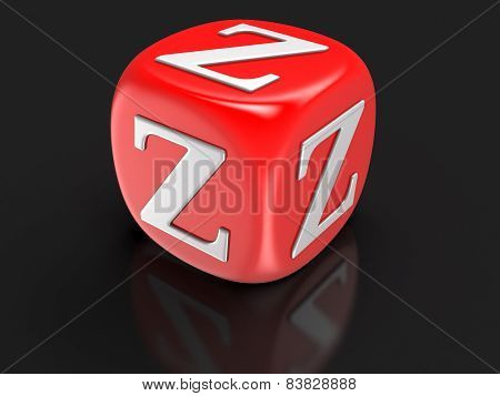 Dice with letter Z (clipping path included)