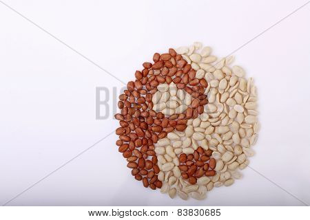 Symbol Yinyang Made Of Peanuts