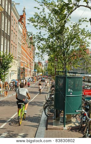 Bicyclists in Amsterdam.