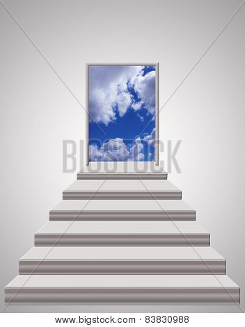 Stairs Leading From Room To Blue Sky