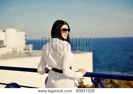 Girl resting on the sea