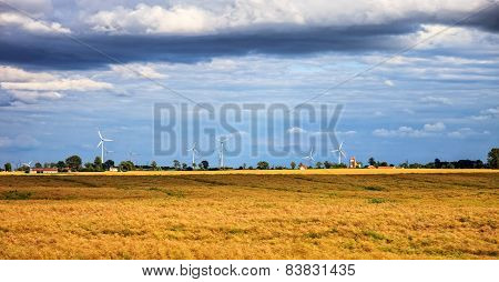 Rural Scenery With Wind Farm