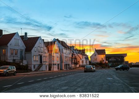 Stavanger At Sunset Time