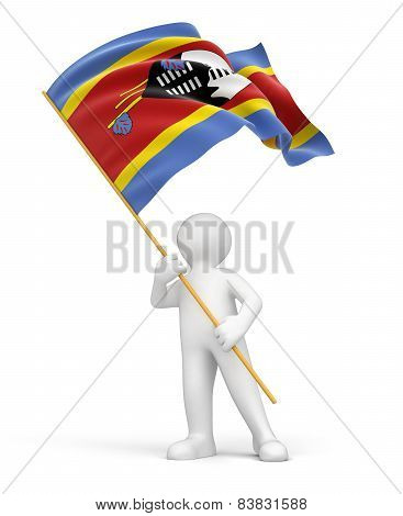 Man and Swaziland flag (clipping path included)