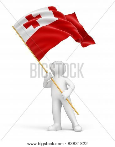 Man and Tonga flag (clipping path included)