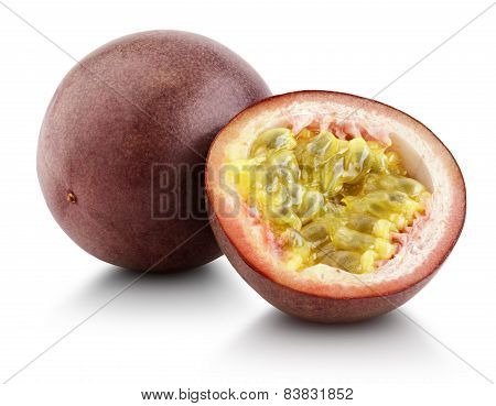 Passion Fruit With Cut Half Isolated On White