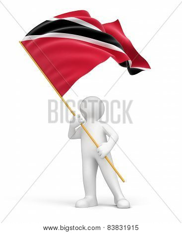 Man with Trinidad and Tobago flag (clipping path included)