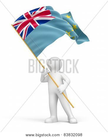 Man and Tuvalu flag (clipping path included)