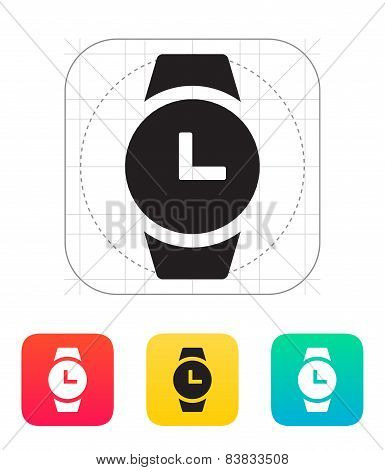 Time on round smart watch icon.