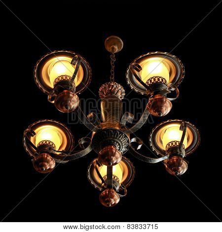Vintage Candelabrum Opening Isolated On Black Background