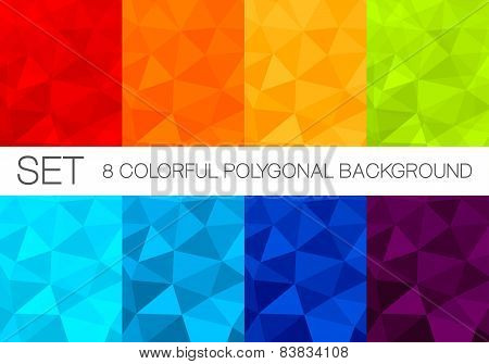 Set of colorful polygonal vector backgrounds