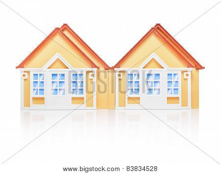 Model houses isolated on white