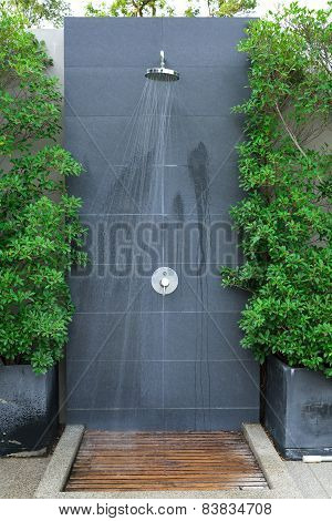 Head Shower Water Stream At Swimming Pool