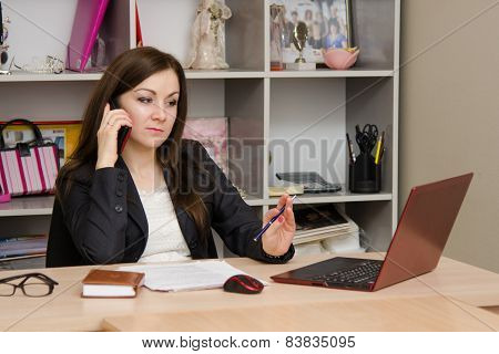 Employee Of Office Is Telephone Conversation With A Worried Expression On His Face