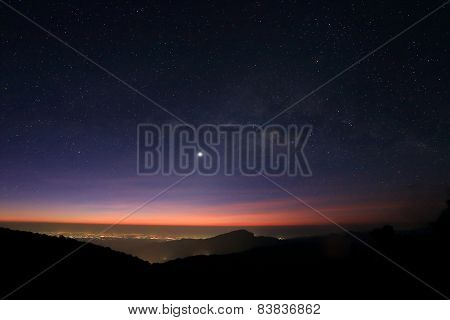 Sunrise In The Morning, Landscape Of Milky Way Beautiful Sky On Doi Inthanon Mountain, Chiang Mai, T
