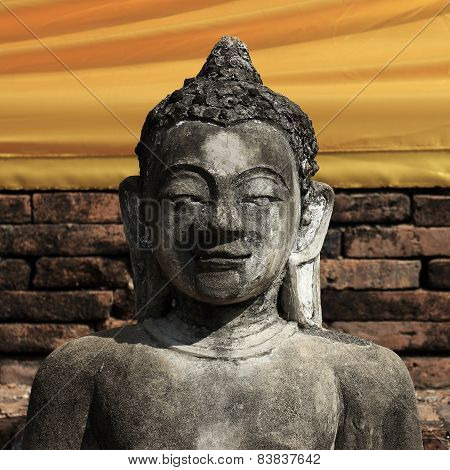 Buddha Statue Sculpture Stone With Golden Face In Temple Buddhism