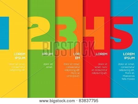 Background With 5 Colorful Vertical Stripes With Numbers