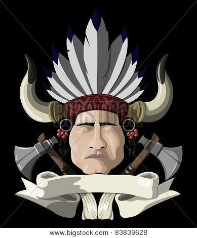 Indian chief with a tomahawk.