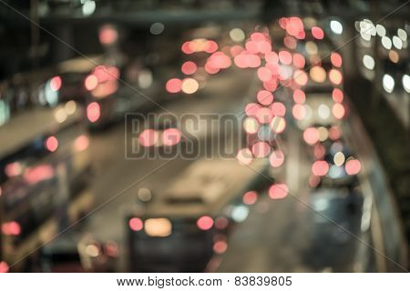 Abstract ligh bokeh on the road