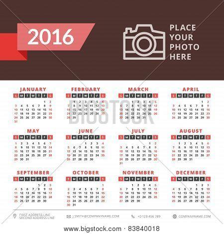 Calendar 2016 Vector Decign Template. Week Starts Sunday