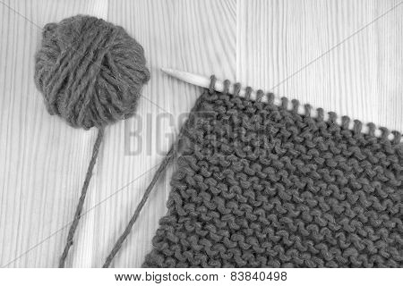Wool And Garter Stitch On Knitting Needle
