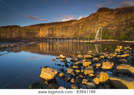 Waterfall At Kimmeridge Bay In Dorset