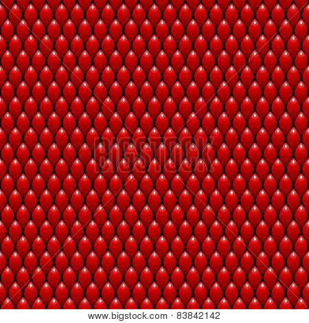 Red Dragon Scales Seamless Pattern Texture. Stock Vector Illustration