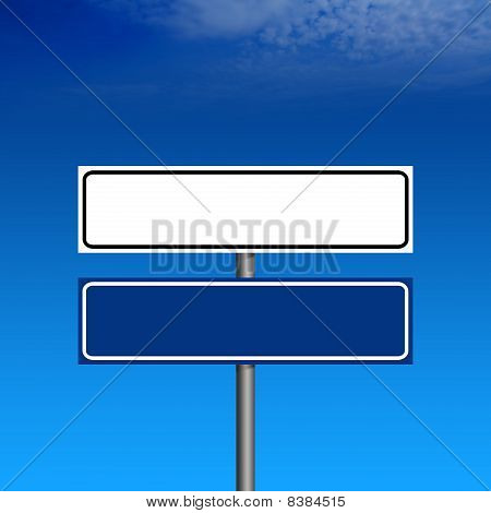 Blank Road Sign And Blue Sky On Background