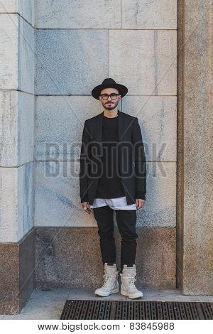 Man Outside Cristiano Burani Fashion Show Building For Milan Women's Fashion Week 2015