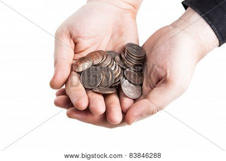 Stack Of Coins And Human Hand
