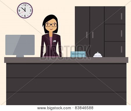 Happy female receptionist standing at hotel. Vector illustration