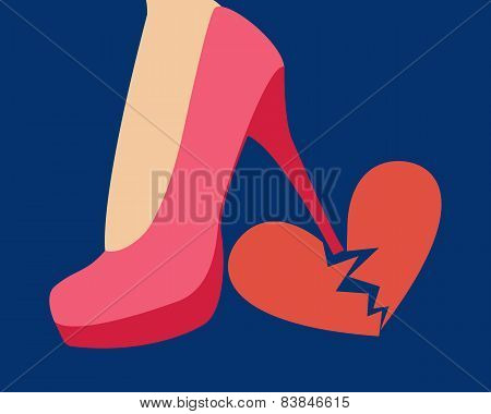 The girl breaks a heel red heart. Vector illustration