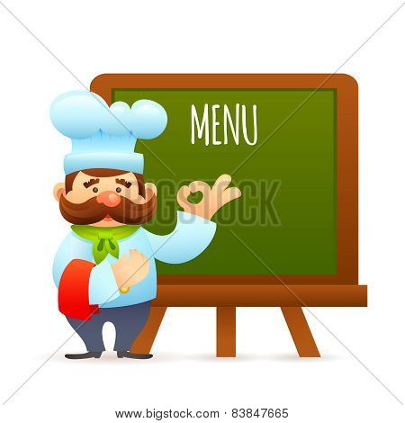 Chef With Menu Board