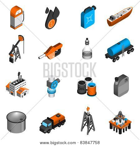 Oil Industry Isometric Icons