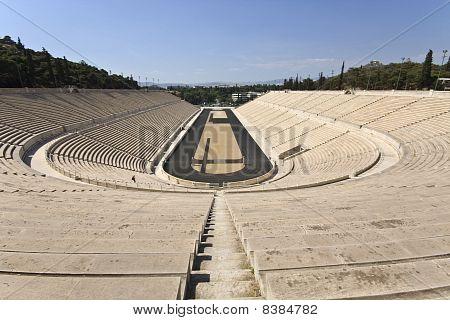 Panathenaic stadium at Arditos hill, Athens, Greece (Kallimarmaro)