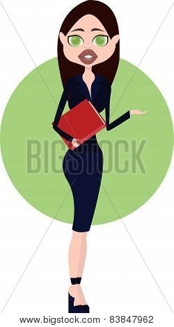 Business Lady in blue suit holding a red folder