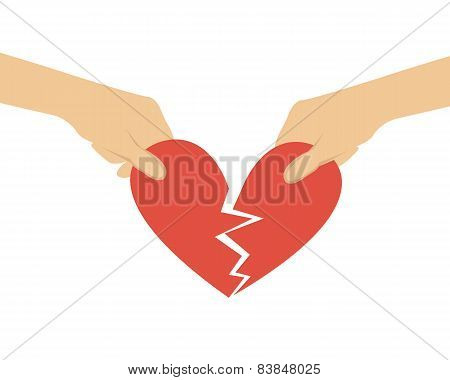 Break off relations. Hands divided heart in half. Vector illustration