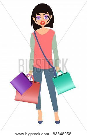 Girl shopping. Girl in jeans with packages. Vector illustration