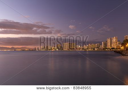 Waikiki Skyline At Sunset