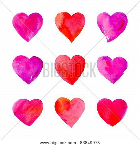 Watercolor Hearts Isolated.